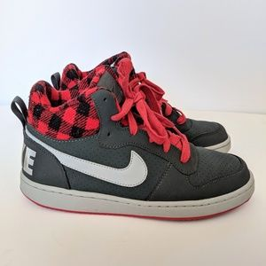 Nike Shoes - Nike Court Borough High Top Gray Red Sneakers